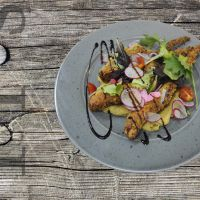 Octopus tentacles in panko crumbs with chickpea purée and crispy salad